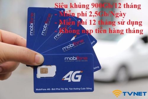 Sim 4G Mobifone KHỦNG 900Gb. Miễn phí 1 năm không nạp tiền