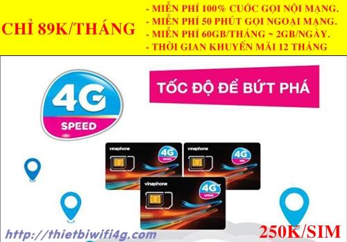 Sim 4G Vinaphone siêu khủng 120GB/Tháng, Gọi thoại miễn phí
