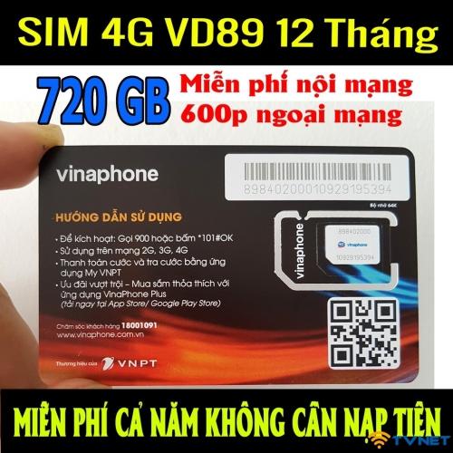 Sim 4G Vinaphone VD8912T miễn phí 720GB DATA - Miễn phí gọi thoại. 1 năm không nạp tiền