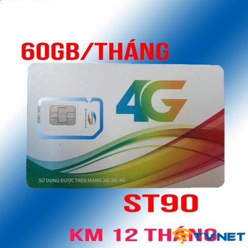 Sim 4G Viettel ST90 DATA siêu khủng 30Gb/Tháng. Gọi thoại siêu rẻ