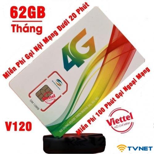 Sim 4G Viettel V120 Plus DATA siêu khủng 720Gb - Gọi thoại miễn phí. 12 tháng không nạp tiền